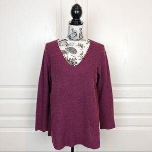 Eileen Fisher V Neckline Wool Blend Tunic Sweater